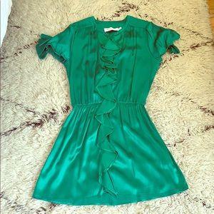 T Bags Los Angeles Emerald Green Silk Ruffle Dress
